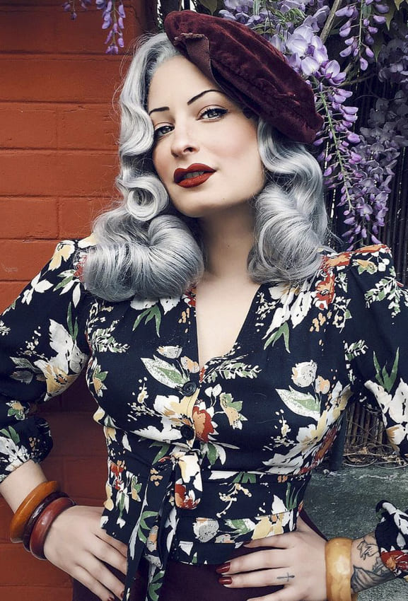 Long Curly Grey vintage hair