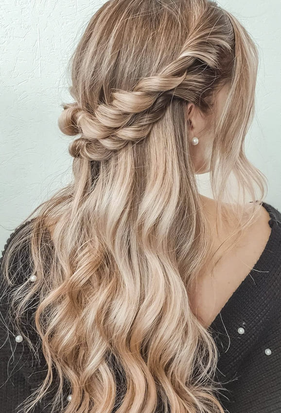 Long blonde with braid half up half down wedding hairstyles