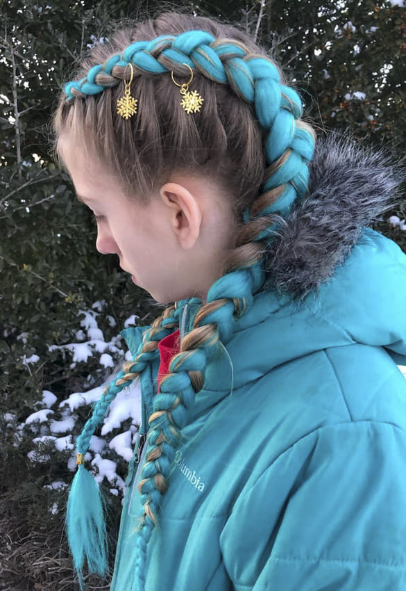 Long blue french braids hairstyles