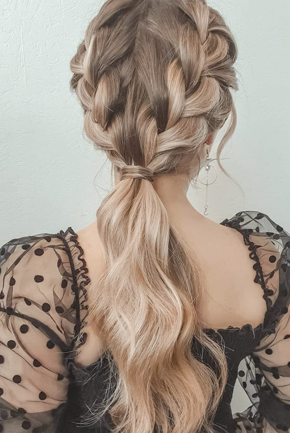 Long ponytail double french braid hairstyles