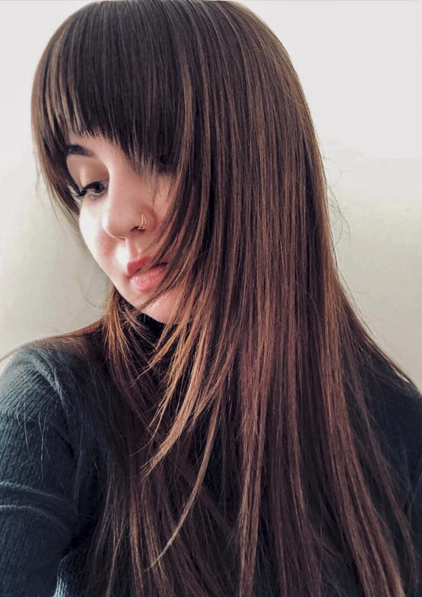 Long straight ombre hairstyles with bangs