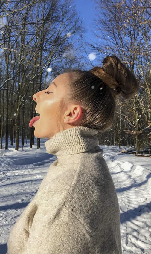 Lovely bun hair for winter