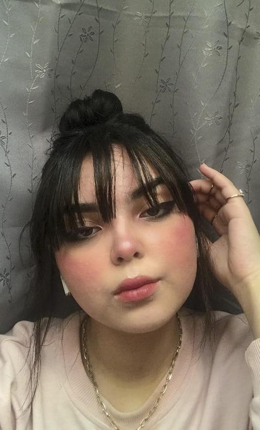Medium hair with bun with bangs