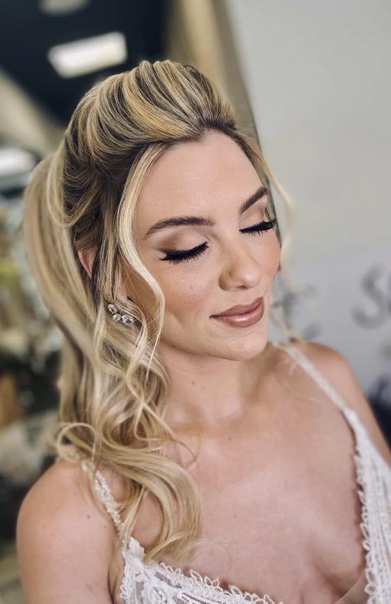 Medium ombre blonde half up half down wedding hairstyles