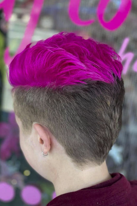 Natural and dark pink funky hairstyles