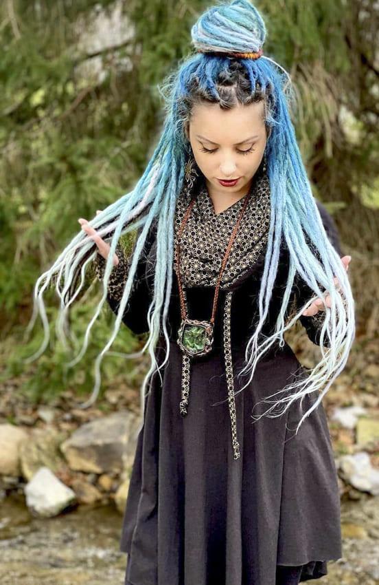 Ombre Blue Boho Hair