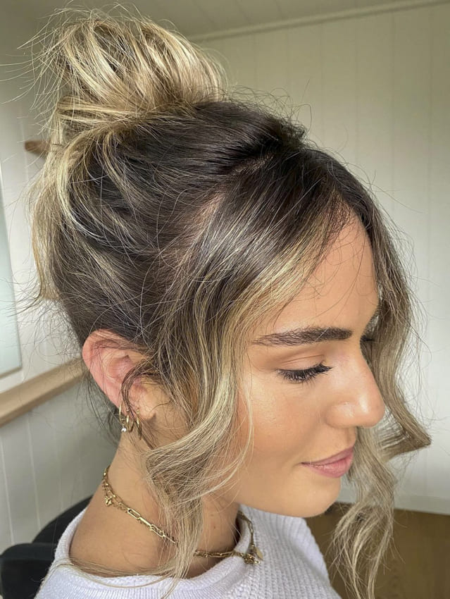 Ombre bun hair with side bangs