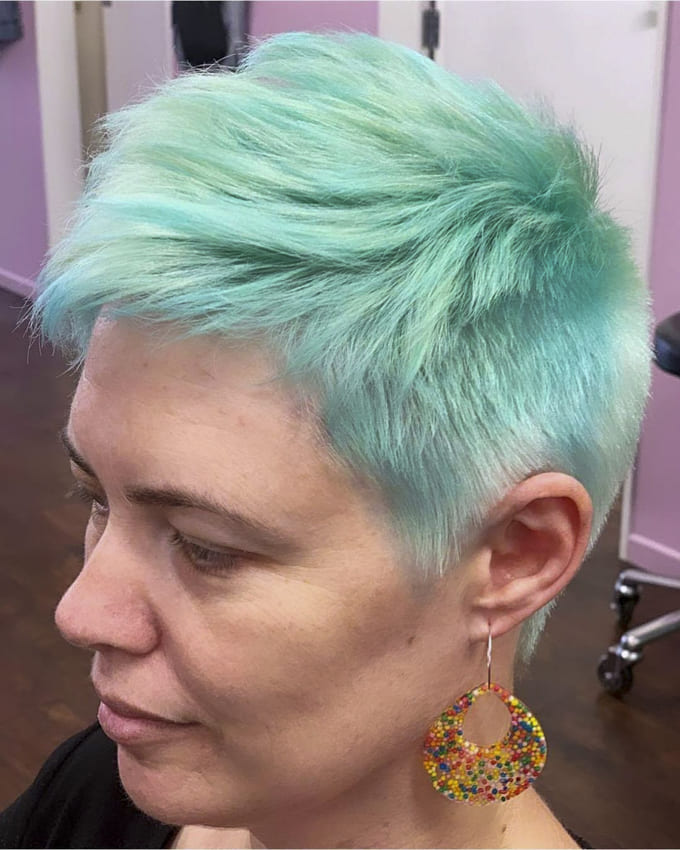 Over 40 years green pixie funky hairstyles