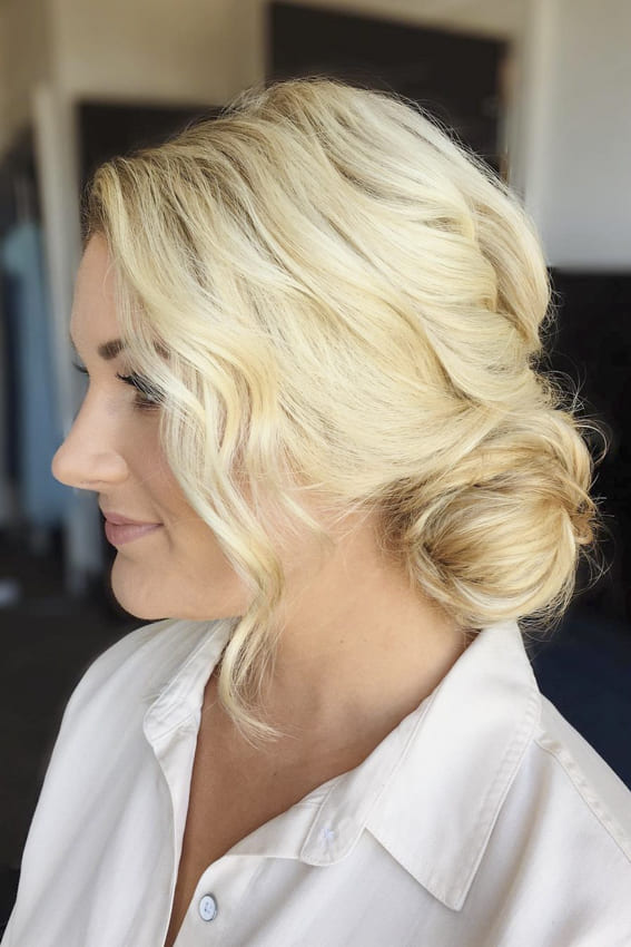 Platinum long blonde hair bun for wedding