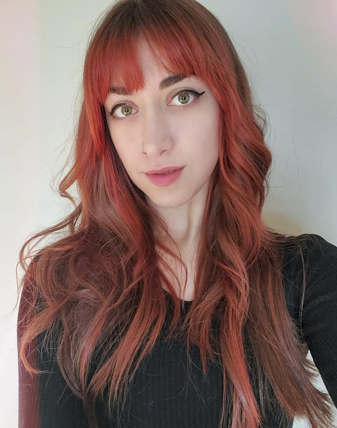 Red Long Choppy Hairstyles with Bangs
