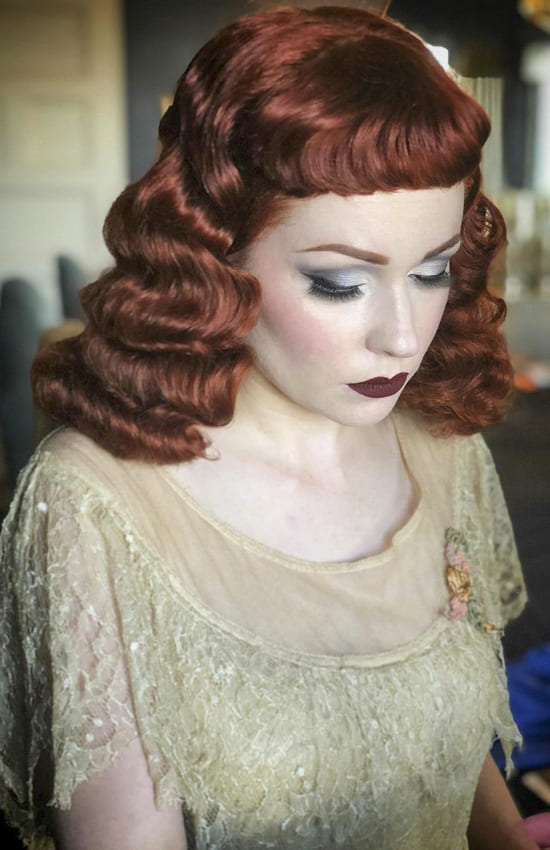 Red and layered medium vintage hairstyles