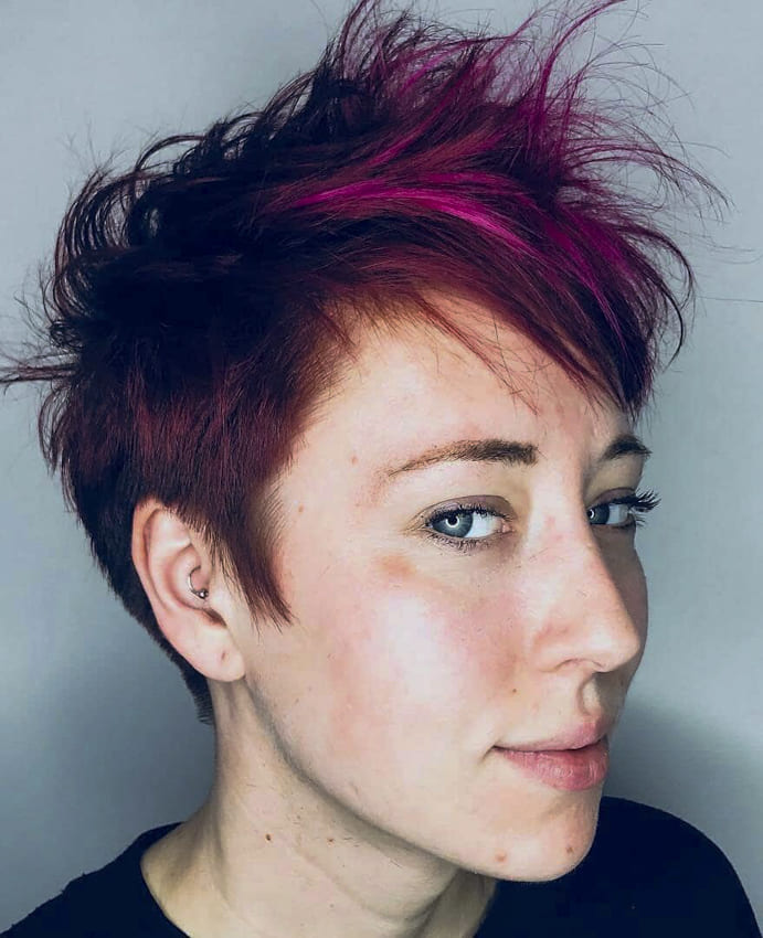 Red and pixie funky hairstyles