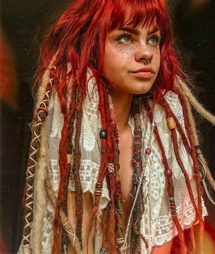 Red long Boho Hair