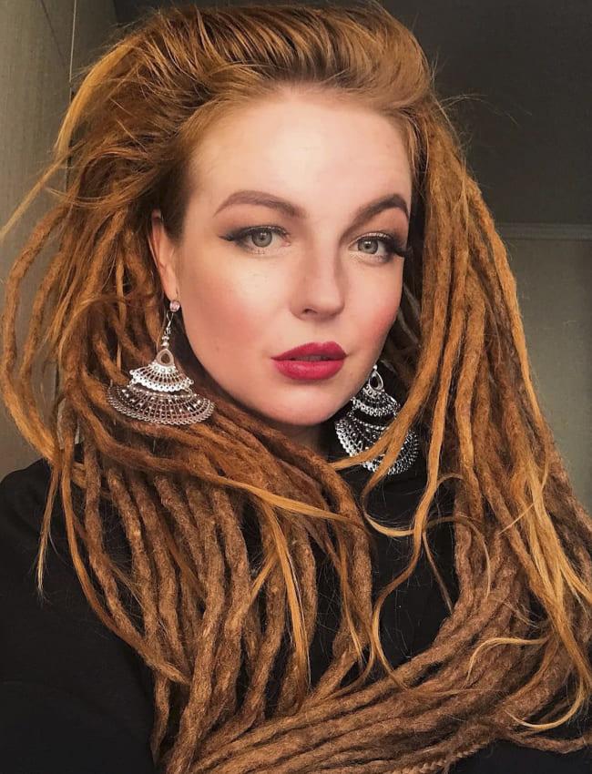 Red long Conrow Boho Hair