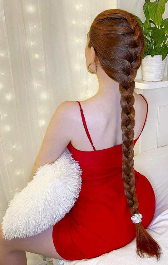 Red long french braids hairstyles