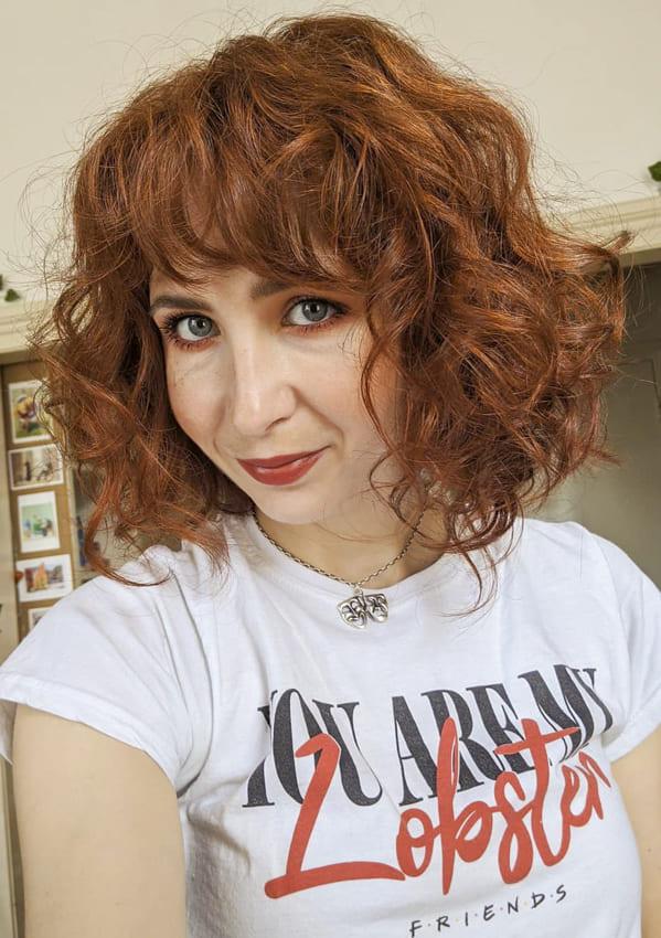 Short bob red wavy hair