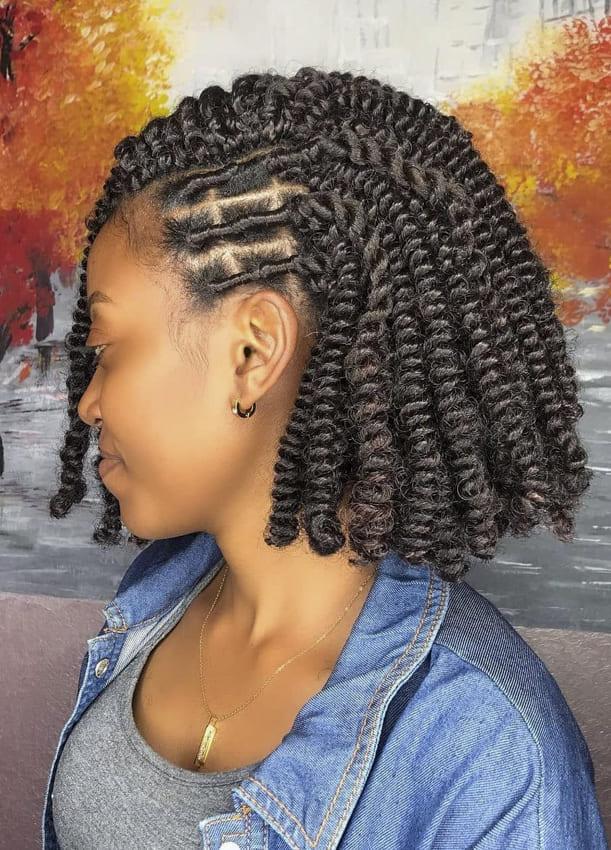 Side short braided cornrow bob hairstyles