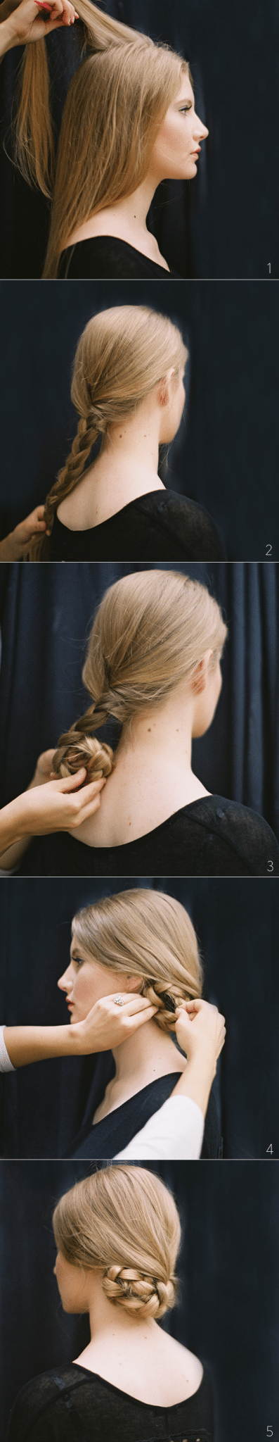 Bun hairstyles with fishtail bun.