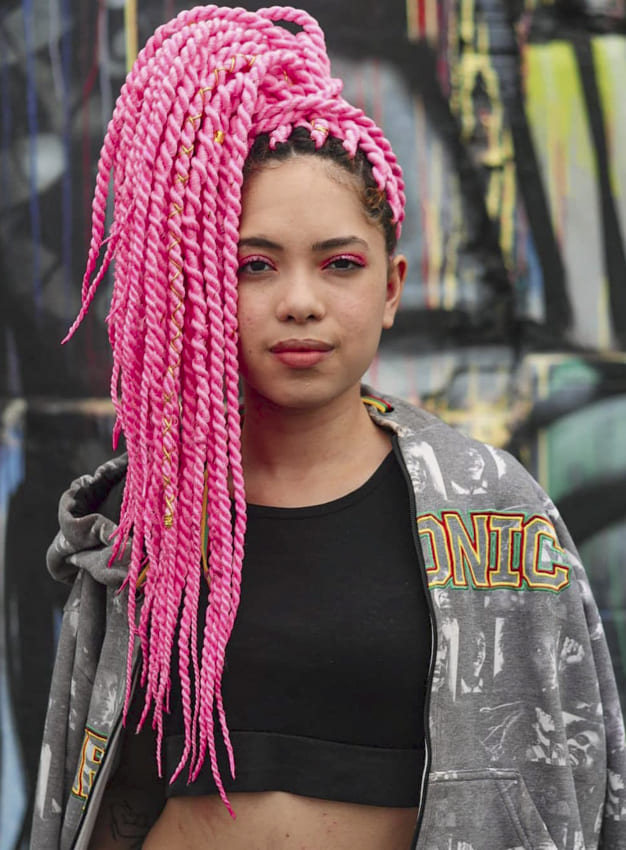 flat pink twist hairstyles on relaxed hair