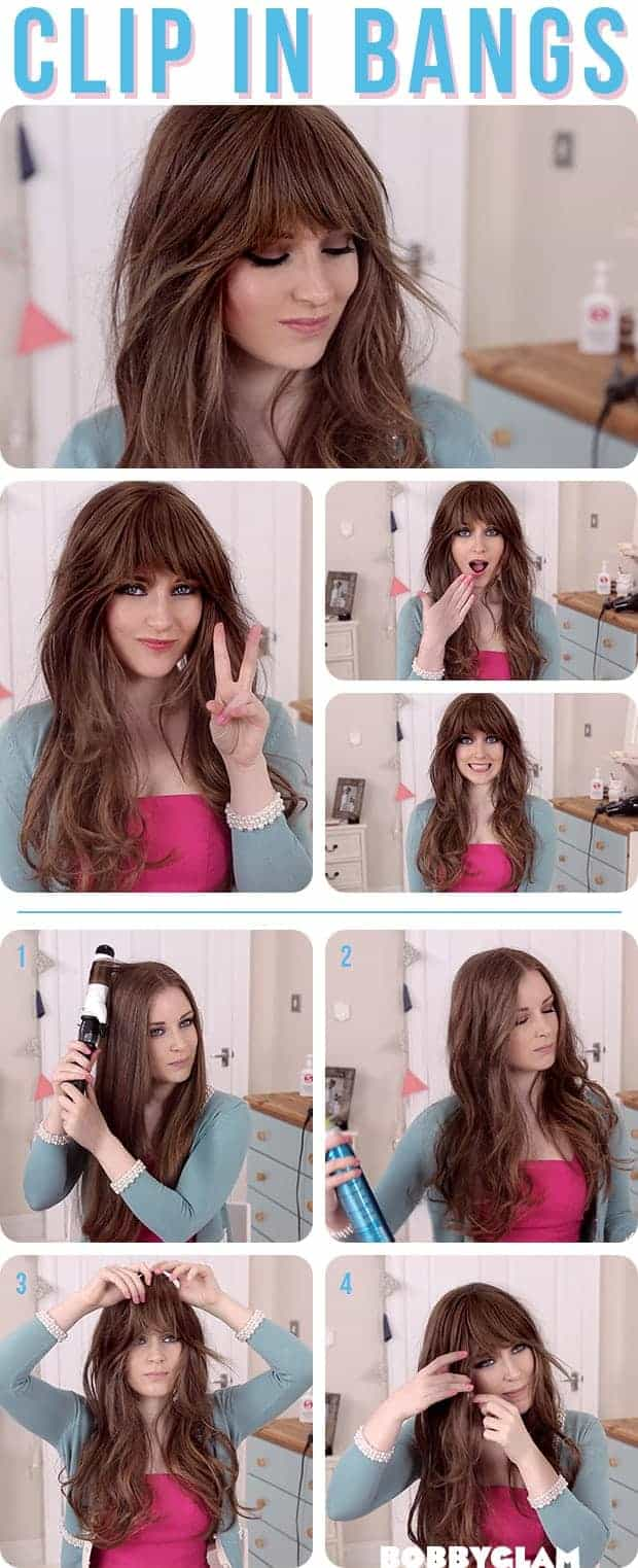 Wavy hairstyles with bangs step by step
