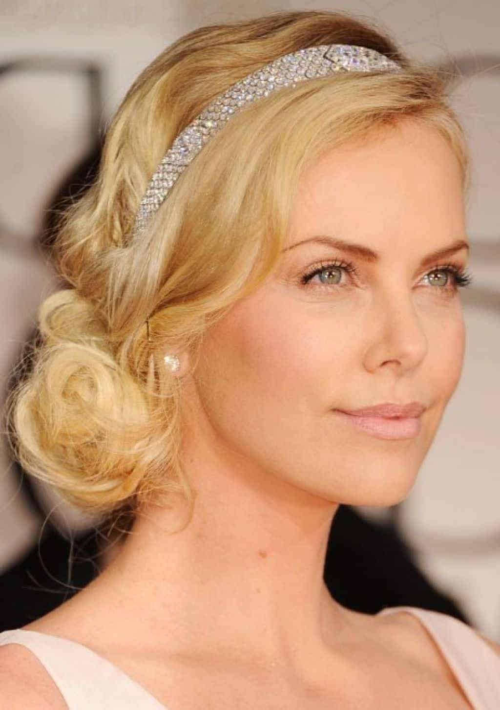 charlize theron Side bun hairstyles for blonde hair