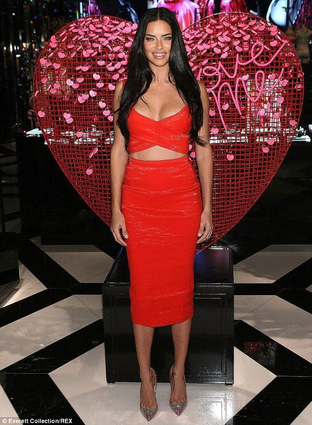 Adriana lima red color evening prom dresses