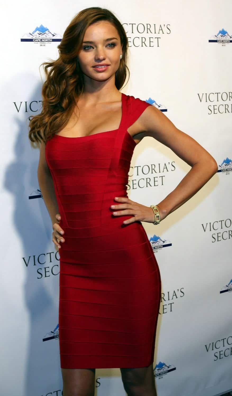 Miranda Kerr Red Color Prom Dresses Elegant