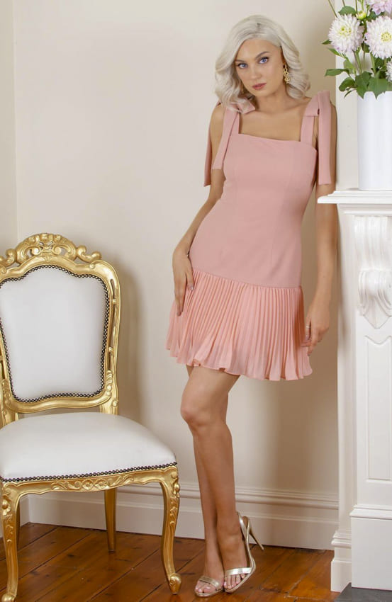 Soft pink cocktail dress for women