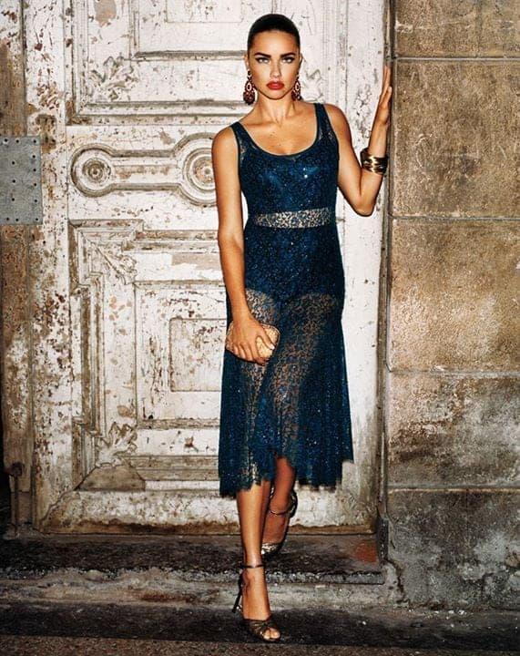 Adriana lima blue color night dresses transparan 2018