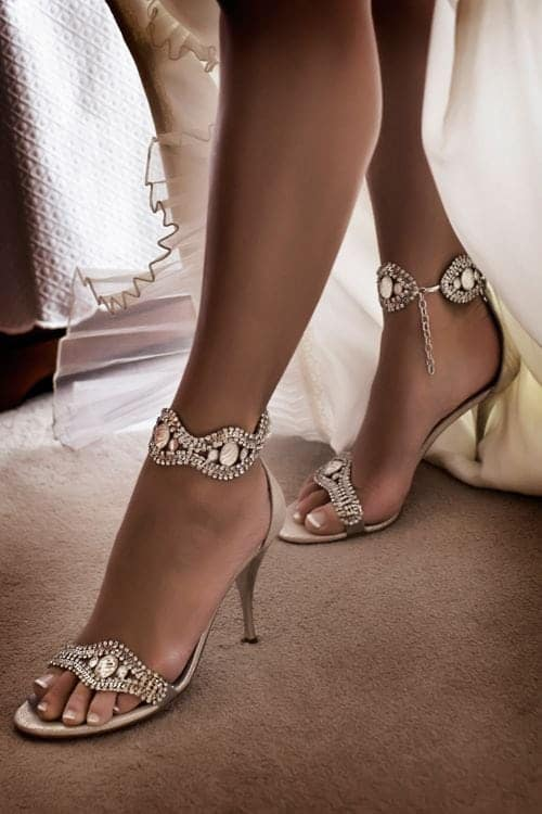wedding shoes high with diamonds