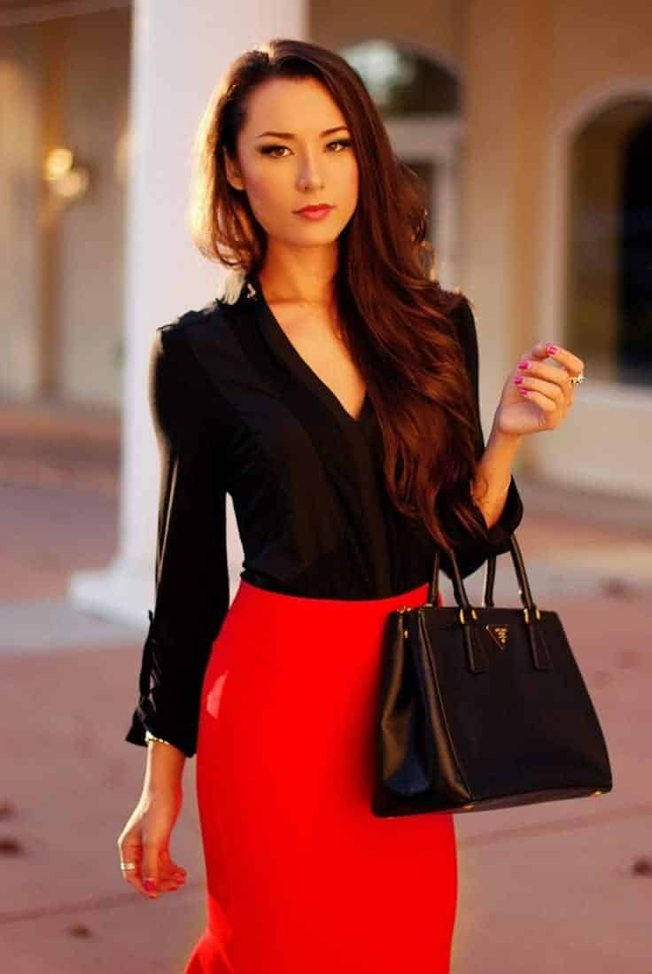 Red skirt and black shirt and bag night dress