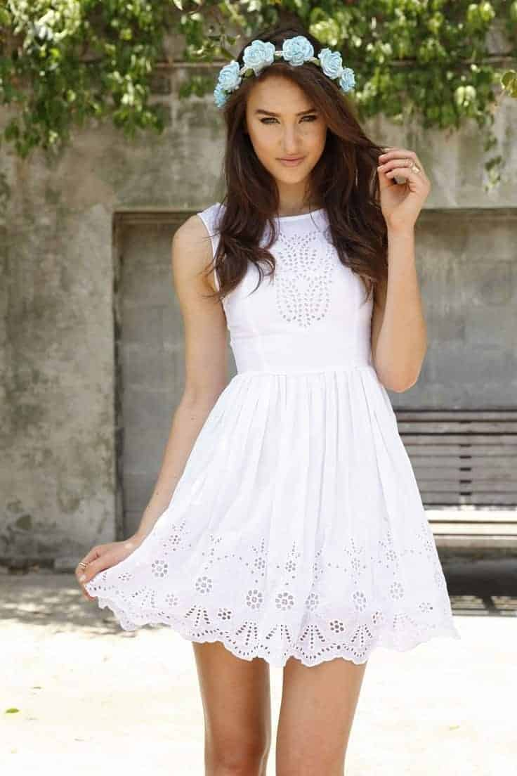 White Dresses for beauty women with flovers