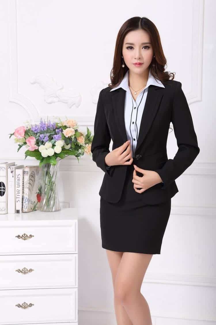 Asian women work dresses for new season black color