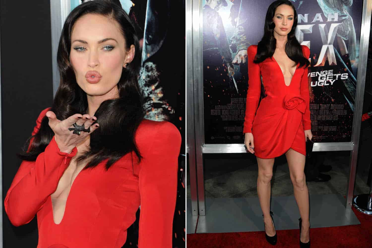 Megan fox red carpet red dresses 2018