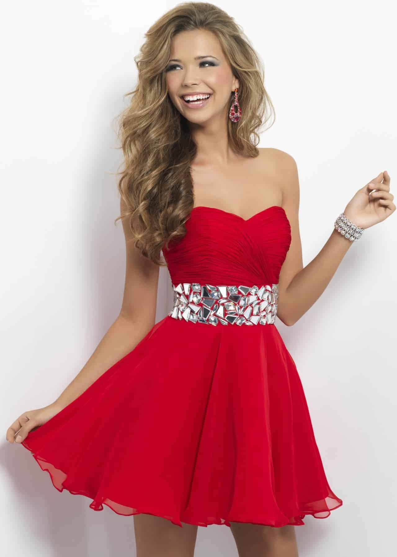 Red night prom dresses for blonde women 2018