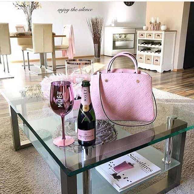 The wine bag is wonderfully pink in color.