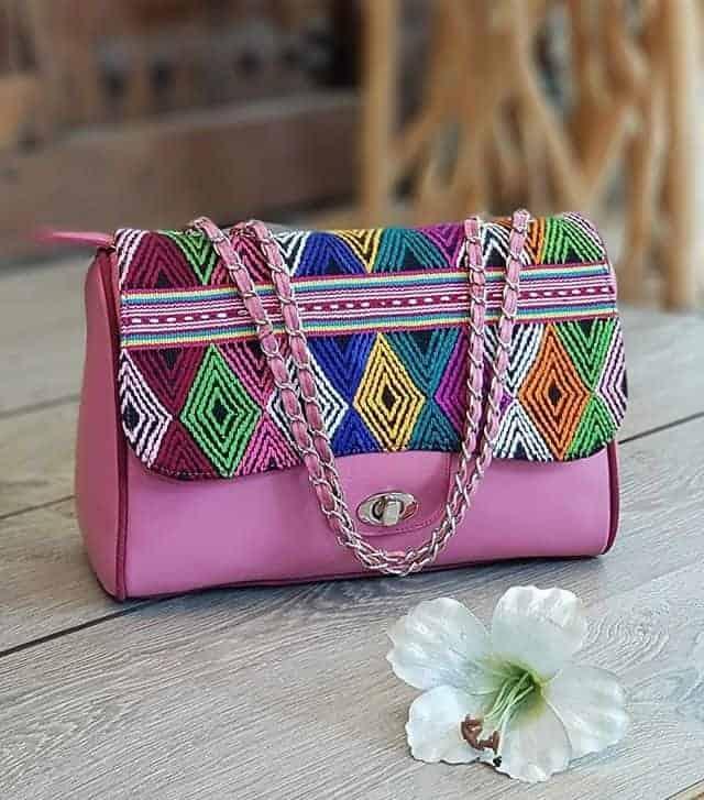 Braided handmade wonderful pink handbag