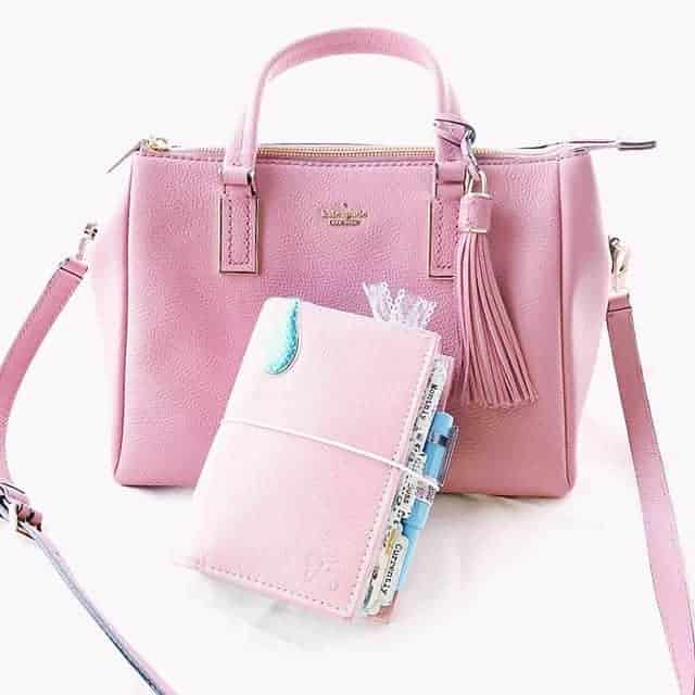 Pink bag and wallet set