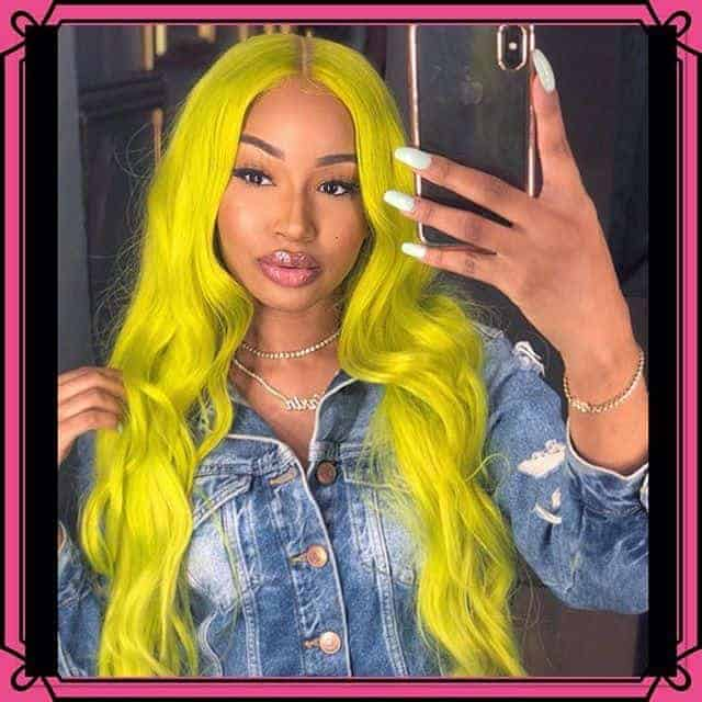 Lemon yellow hair color.