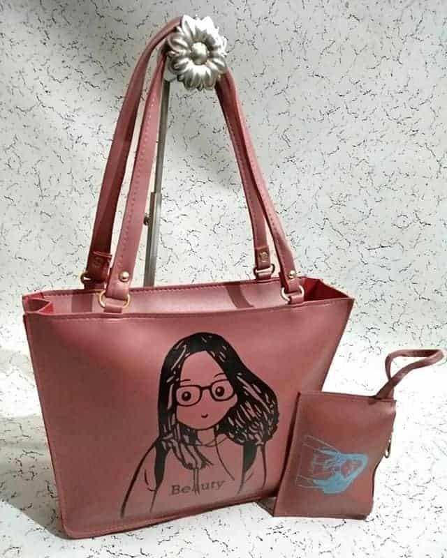 Elegantly designed pink handbag