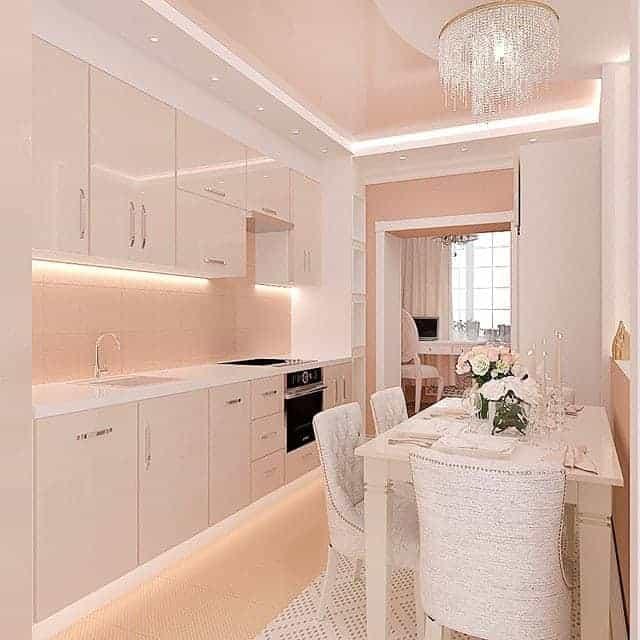 Small and narrow kitchen interior design