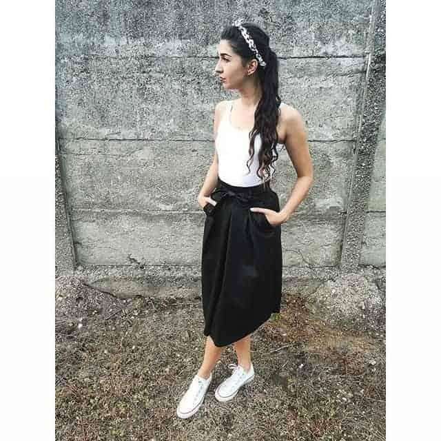 Long Leather Skirt Model