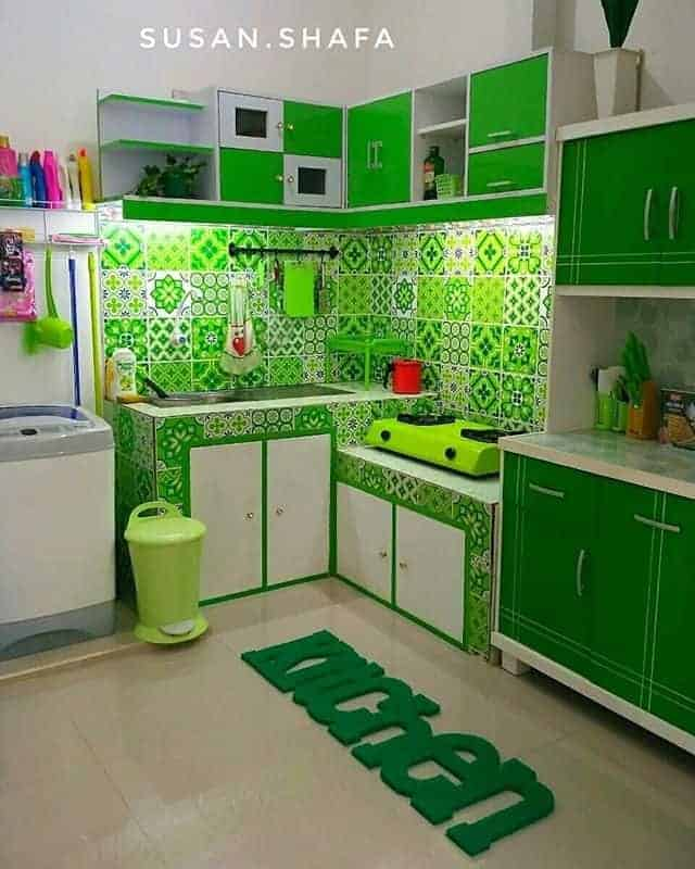 Green Color simple kitchen interior designs