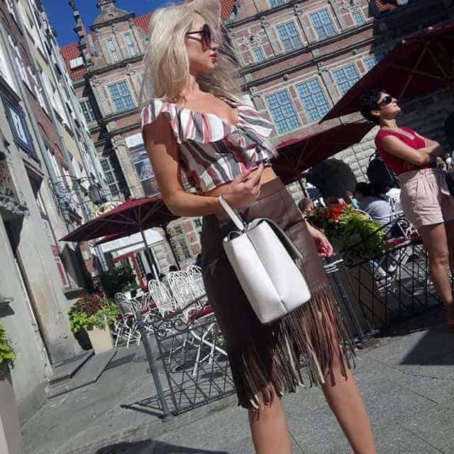 Tassel Leather skirt Models