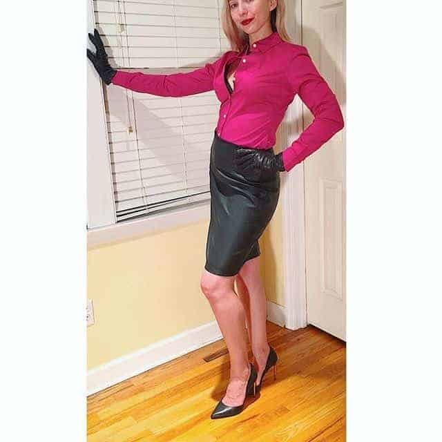 knee length leather skirt.