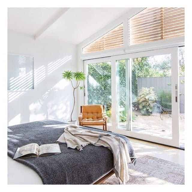 Bedroom design with garden view