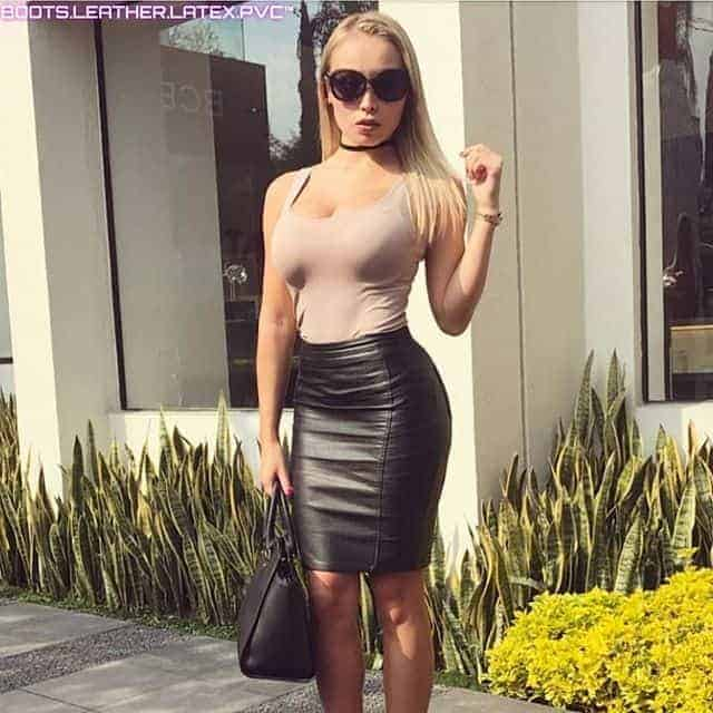 knee length Tight Leather Skirts