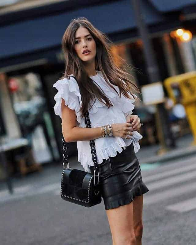 Short piled leather skirts
