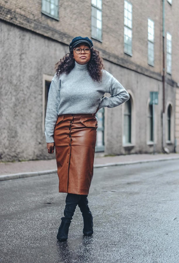 brown leather skirt (4)