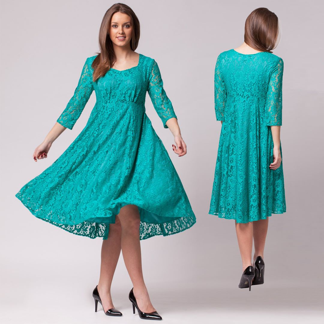 Flower-patterned cottage long turquoise dress